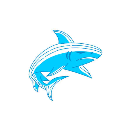 Shark logo Concept illustration vector Outline isolated template