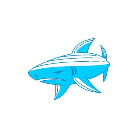 Shark logo design vector Outline editable illustration template Ilustração