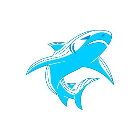 Shark emblem logo vector Outline isolated illustration template
