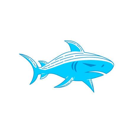 Shark Mascot logo design Outline isolated concept template