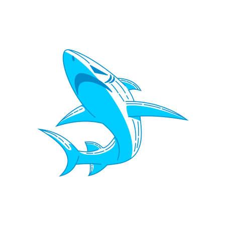 Shark Badge logo Outline design vector  isolated illustration