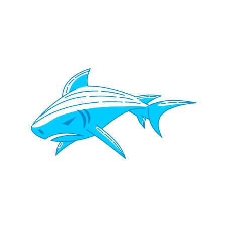 Shark aquatic logo design Outline illustration concept template Ilustração