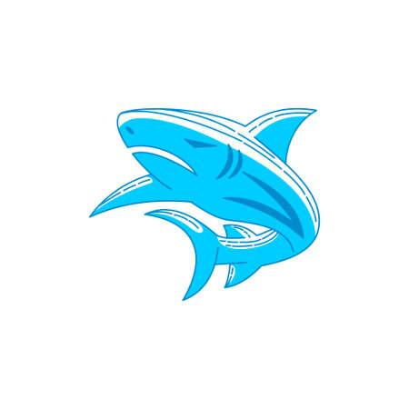 Shark Template logo design Outline isolated illustration Ilustração