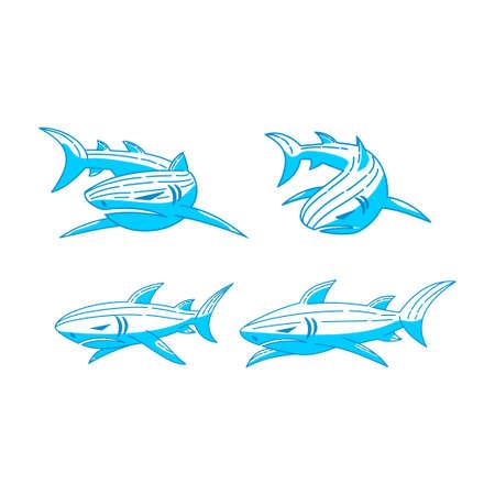 Shark logo Identity design vector Outline set concept template Ilustração