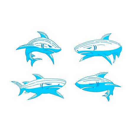 Shark logo Fauna vector Outline illustration concept template
