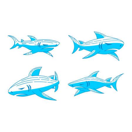 Shark Oceanic logo design vector Outline set template