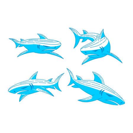 Shark logo Mascot design Outline set illustration template Ilustração