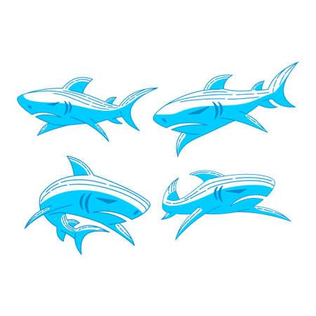 Shark logo Emblem design vector Outline set illustration concept