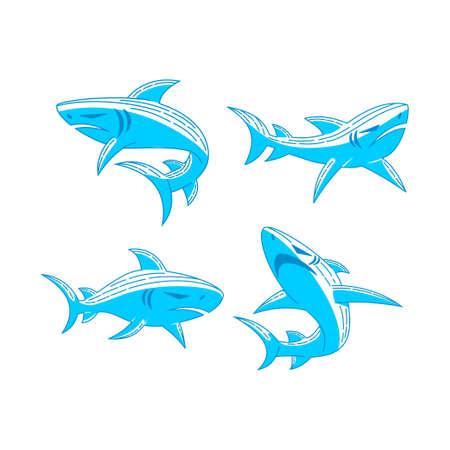 Shark Blue logo design vector Outline set concept template Ilustração