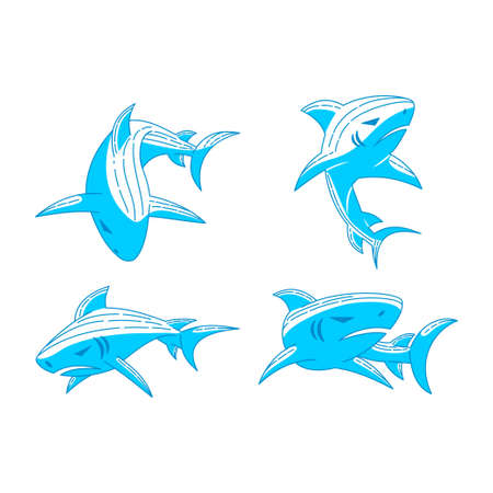 Shark Predator logo design vector Outline set illustration