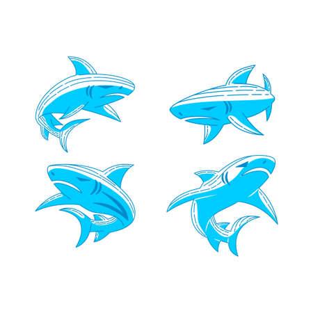 Shark Animal logo design Outline set illustration template