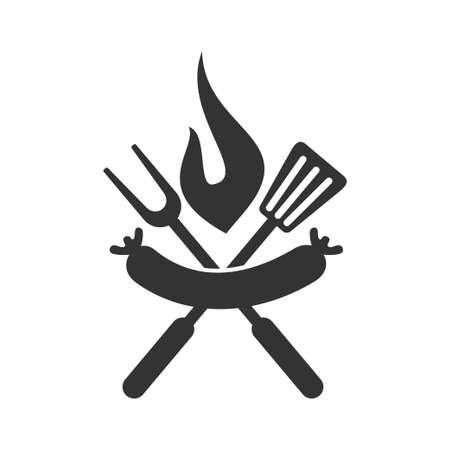 Barbecue sausage spatula logo template vector badge Isolated Ilustração