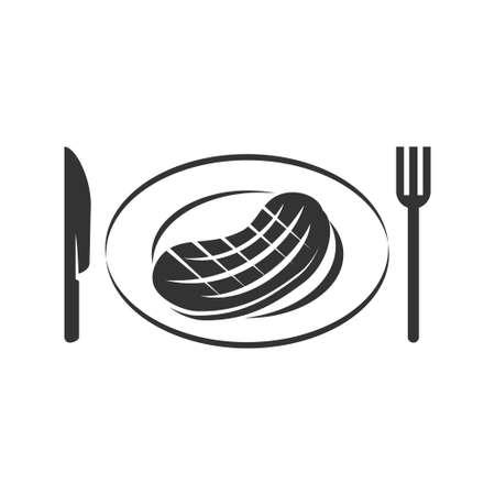 Barbecue beef knife fork logo template vector badge Design  Ilustração