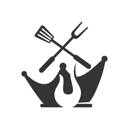 Barbecue King Spatula logo template vector badge Design Isolated Ilustração