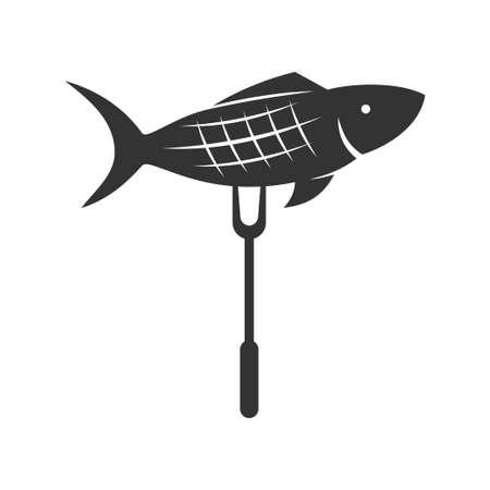 Barbecue fish logo template vector badge Design Isolated Ilustração