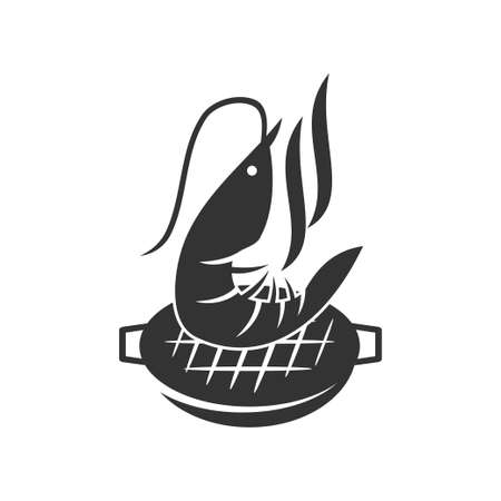 Barbecue shrimp logo template vector badge Design Isolated