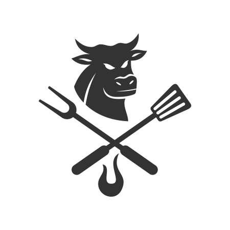 Barbecue Beef logo template vector badge Design Isolated Ilustração