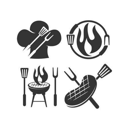 Barbecue beef chef fire logo template vector badge Design set