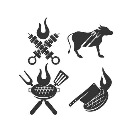 Barbecue grill beef Spatula logo template vector badge Design set