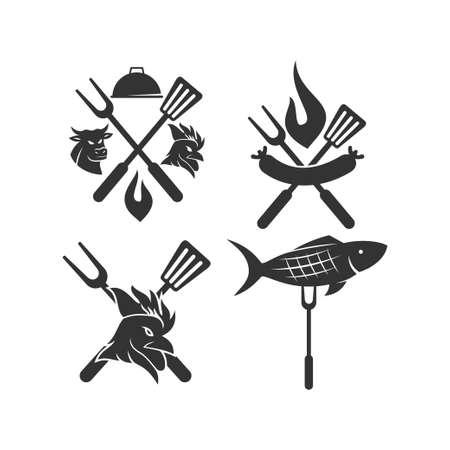 Barbecue chicken fish sausage beef logo template vector Design set