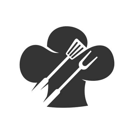 Barbecue Spatula Fork Hat Chef logo template vector badge Design