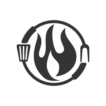 Barbecue Fire Fork Spatula logo template vector badge Design