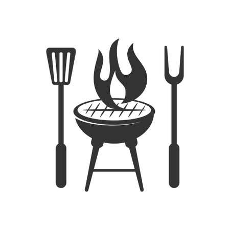 Barbecue fire spatula logo template vector badge Design Isolated