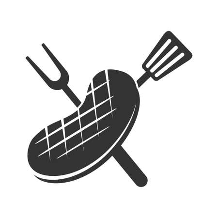 Barbecue beef roast logo template vector badge Design Isolated