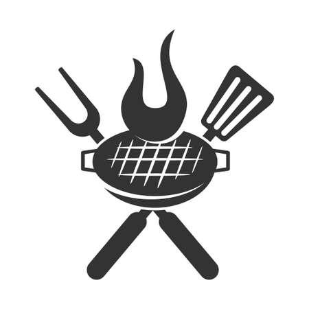 Diseño de placa de vector de plantilla de logotipo de asado de barbacoa aislado Logos