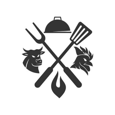 Barbecue chicken beef bull logo template vector badge Design  Ilustração