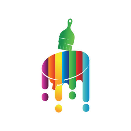 Brush Brain logo design template Painting service Isolated Ilustração