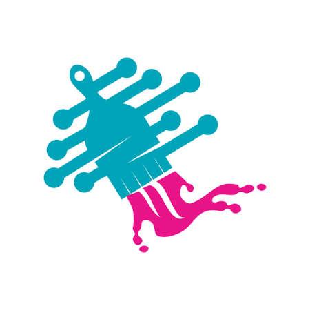 Brush Painter technology logo design Painting service Isolated Ilustração