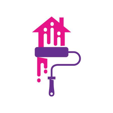 Brush Painter Home logo template Painting service Isolated Ilustração