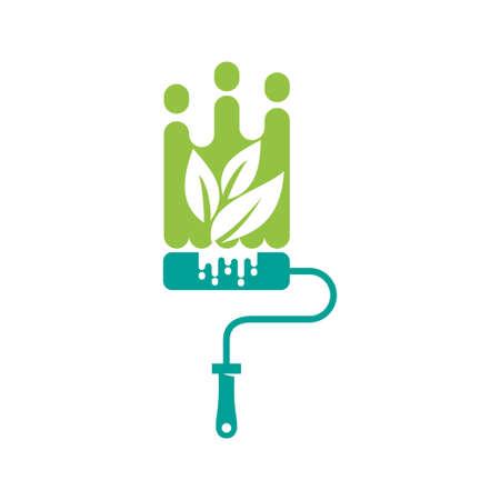 Brush Painter Leaf Eco logo design Painting service Isolated