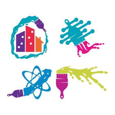 Brush Home technology logo design template Painting service Set