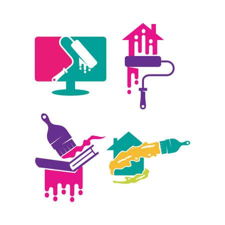 Brush Computer Home Book logo design Painting service Set