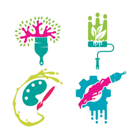 Brush Palette Tree Gear logo template Painting service Set