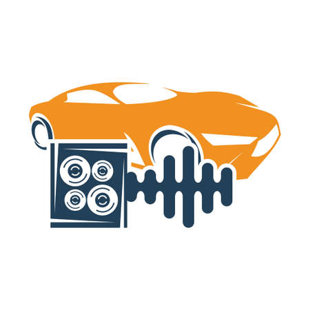 Audio Car System Speaker Box Beat Logo Template Isolated Icon