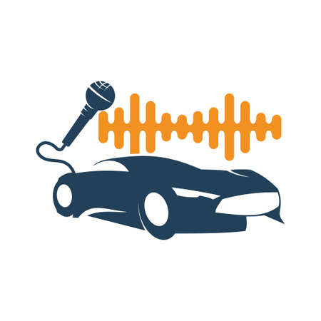 Audio Car System Mic Volume Logo Template Isolated Icon Symbol Иллюстрация