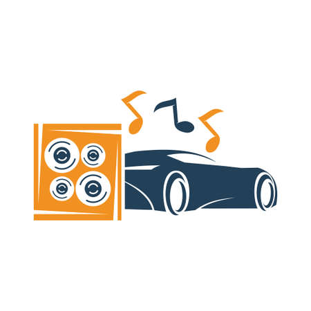 Audio Car System Logo Template Isolated Icon Symbol Vector Иллюстрация