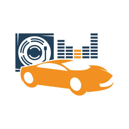 Audio Car System Disc Volume Logo Template Isolated Icon Symbol