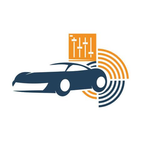 Audio Car System Equalizer Logo Template Isolated Icon Symbol Иллюстрация