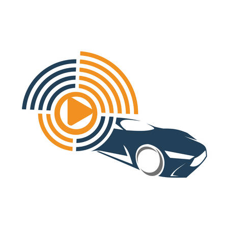 Audio Car System Player Logo Template Isolated Icon Symbol
