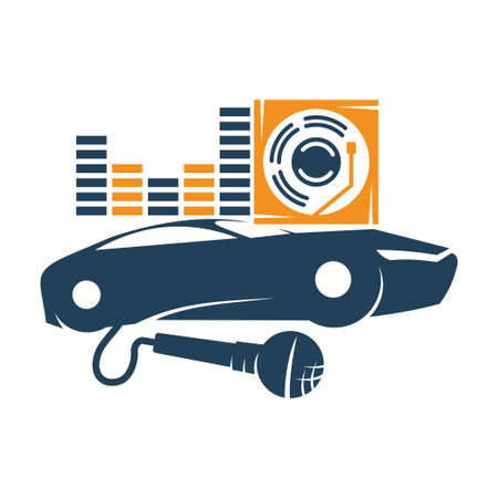 Audio Car System Mic Volume Disk Logo Template Isolated Icon