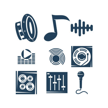 Audio System Logo Template Set Icon Symbol Vector Иллюстрация