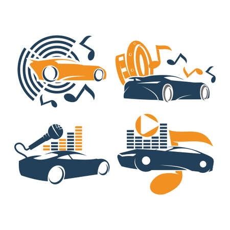 Audio Car System Logo Template set music speaker mic note