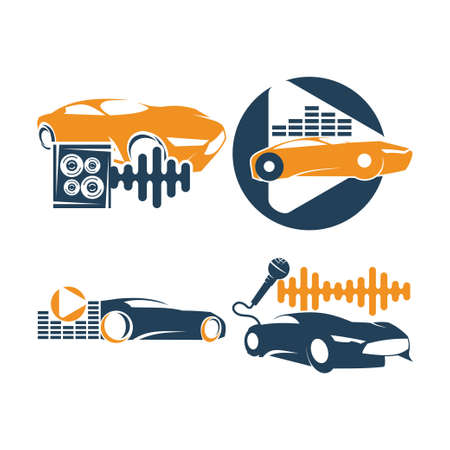 Audio Car System Logo Template set speaker mic volume Иллюстрация