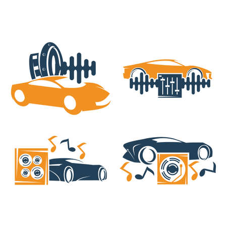 Audio Car System Logo Template set Icon Symbol Vector Иллюстрация