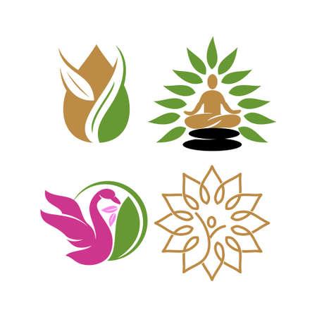 Nature spa   Design Icon vector Template set Illustration