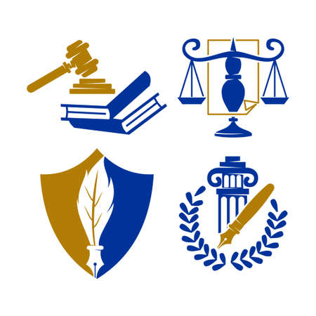 Law Justice Firm  Design Vector icon template Set